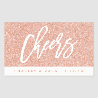 Cheers Blush Pink Glitter Mini Wine Champagne Rectangular Sticker