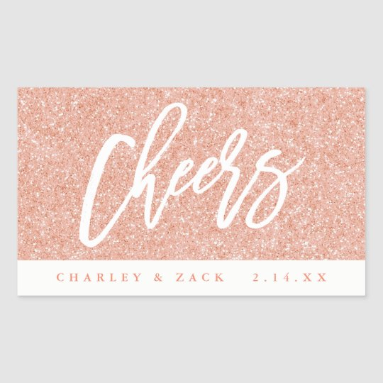 Cheers Blush Pink Glitter Mini Wine Champagne Rectangular