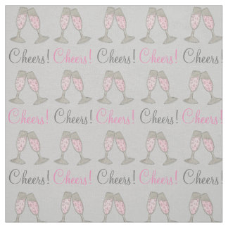 Cheers! Bubbly Pink Champagne Glass Wedding Fabric