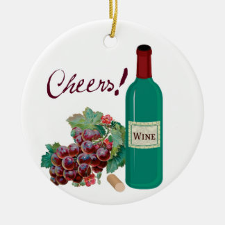 Cheers! Celebrate! Wine Bottle and Grapes Christmas Ornament