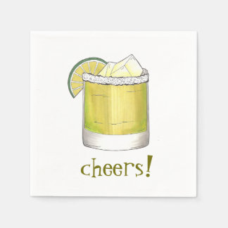 Cheers! Celebration Margarita Cocktail Party Drink Disposable Napkin