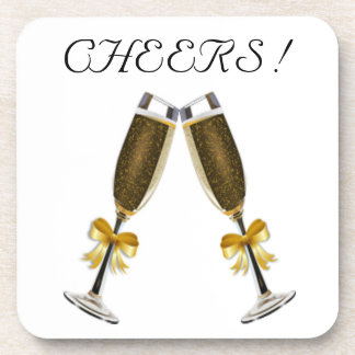 CHEERS ! CHAMPAGNE GLASSES BEVERAGE COASTERS