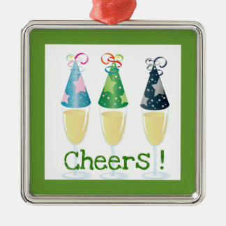 CHEERS! CHAMPAGNE PARTY HAT PRINT Silver-Colored SQUARE DECORATION