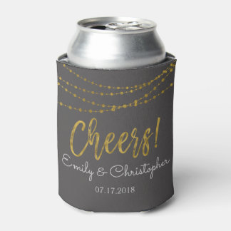 Cheers Charcoal and Gold Foil String Lights Can Cooler