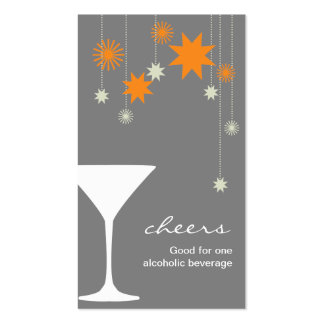Cheers cocktail drink ticket new year party event pack of standard business cards
