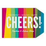 cheers & colorful patterned personalized invitation