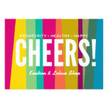 cheers & colorful patterned invites