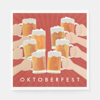 Cheers for Oktoberfest! Beers for Everyone! Disposable Napkins