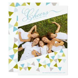 Cheers Geo Triangles Modern Fun Holiday Photo Card 13 Cm X 18 Cm Invitation Card