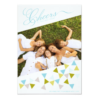 Cheers Geo Triangles Modern Fun Holiday Photo Card 13 Cm X 18 Cm Invitation Card