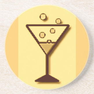 Cheers Glass of Bubbly print Sandstone Coaster