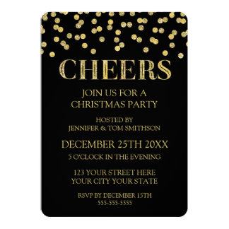 Cheers Gold Black Glitter Confetti Christmas Party Card