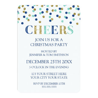 Cheers Gold Blue Glitter Confetti Christmas Party Card