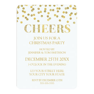 Cheers Gold Glitter Confetti Christmas Party Card