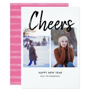 Cheers Handwritten Brush Photo New Year Card