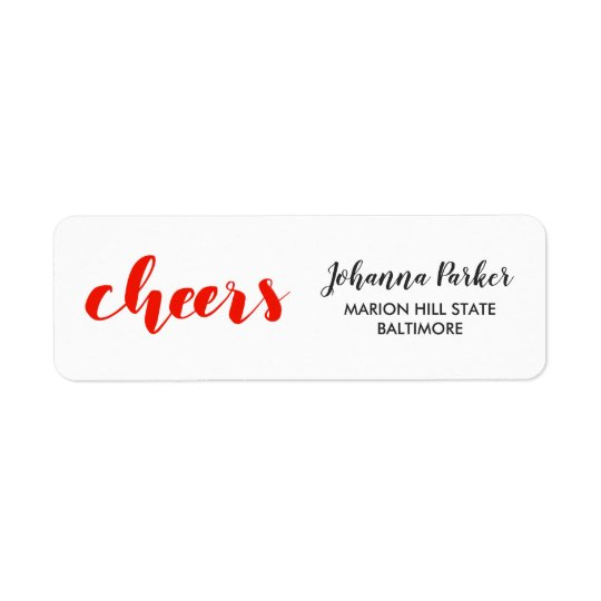Cheers Handwritten Red Script Holiday