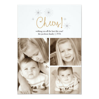 Cheers Happy New Year Gold Fireworks Photo Card 13 Cm X 18 Cm Invitation Card