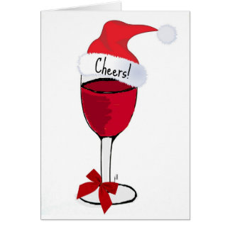 Cheers! HOLIDAY RED WINE PRINT by jill Card