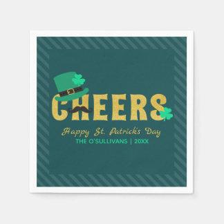 Cheers Leprechaun Hat & Shamrock St Patricks Day Paper Napkins