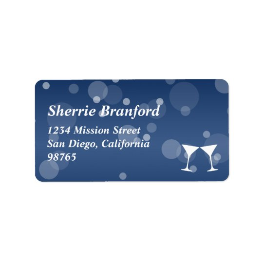 Cheers martini bubble celebration return address label