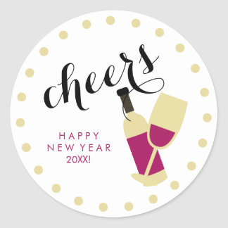 Cheers Modern Happy New Year Wine and Gold Dots Round Sticker