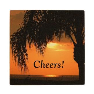"""Cheers"", palm tree sunset, wooden coaster. Maple Wood Coaster"