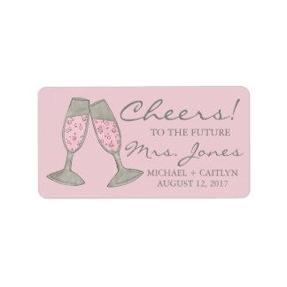 Cheers! Pink Champagne Bridal Shower Wedding Label Address Label