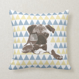 Cheers Pug with a Glass of Wine Triangle Patterns Throw Pillow