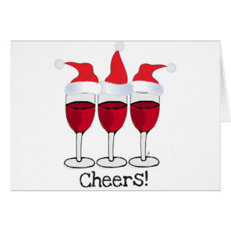 CHEERS! RED WINE AND CHRISTMAS HATS PRINT CARD