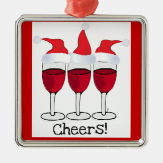 CHEERS! RED WINE AND CHRISTMAS HATS PRINT CHRISTMAS ORNAMENT