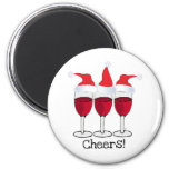 CHEERS! RED WINE AND CHRISTMAS HATS PRINT 6 CM ROUND MAGNET