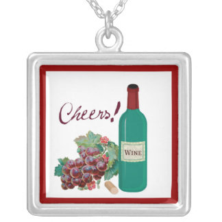 CHEERS! RED WINE AND GRAPES PRINT SQUARE PENDANT NECKLACE