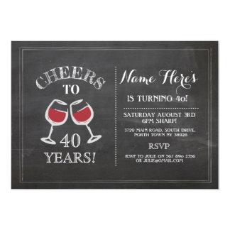 Cheers Red Wine Birthday Drink Chalk Invite