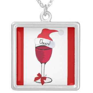 CHEERS RED WINE GLASS SANTA HAT PRINT CUSTOM NECKLACE