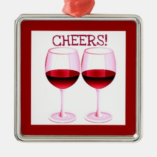 CHEERS! RED WINE PRINT CHRISTMAS ORNAMENT