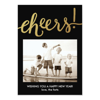 Cheers Shiny Gold Happy New Year's Card 2016 13 Cm X 18 Cm Invitation Card