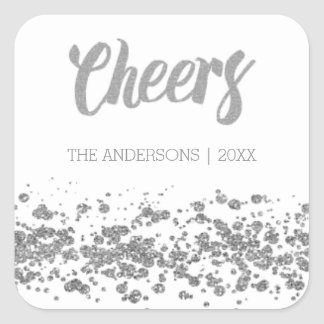 Cheers silver glitter Christmas Stickers