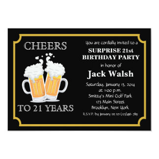 Cheers Surprise 21st Birthday Party Invitations