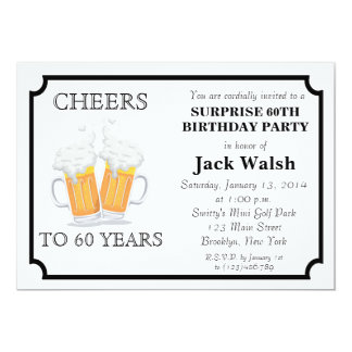 Cheers Surprise 60th Birthday Party Invitations