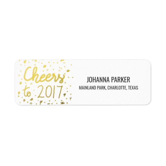 Cheers To 2017 Faux Gold Script Confetti New Year Return Address Label