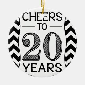 Cheers to 20 Years Round Ceramic Decoration