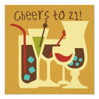 "Cheers to 21 Birthday 5.25"" Square Invitation Card"