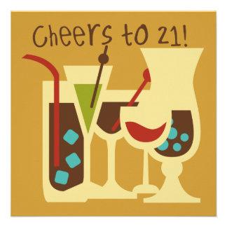 Cheers to 21 Birthday Invites