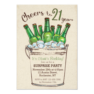 Cheers to 21 years Birthday Invitation