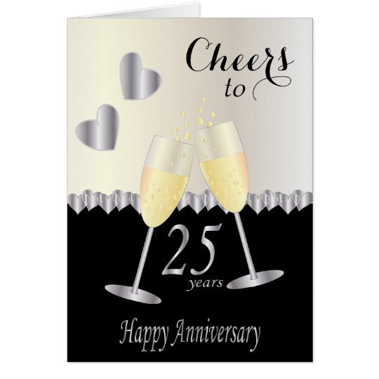 Cheers to 25 years Anniversary | DIY Text Card
