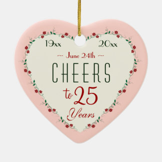Cheers to 25th Wedding Anniversary Christmas Gifts Ceramic Heart Decoration