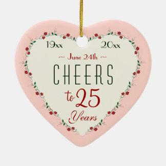Cheers to 25th Wedding Anniversary Christmas Gifts Christmas Ornament