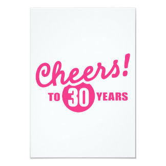 Cheers to 30 years birthday 9 cm x 13 cm invitation card