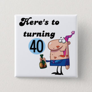 Cheers to 40 Birthday Tshirts and Gifts 15 Cm Square Badge