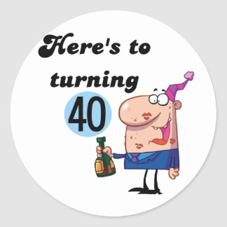 Cheers to 40 Birthday Tshirts and Gifts Classic Round Sticker